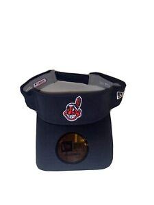 Cleveland Indians MLB Chief Wahoo New Era Adult Visor Navy Adjustable RARE