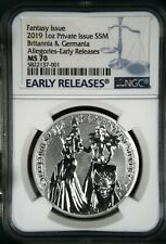 2019 1 oz Silver Allegories Germania & Britannia Medal NGC MS70 Early Releases