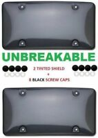 2x UNBREAKABLE TINTED SMOKE BUBBLE LICENSE PLATE BUMPER SHIELD COVERS CAR TRACK