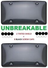2 UNBREAKABLE TINTED SMOKE LICENSE PLATE TAG HOLDER FRAME BUMPER SHIELD COVERS
