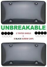 2x Unbreakable Tinted Smoke License Plate Tag Holder Frame Bumper Shield Covers