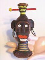 VINTAGE ELZAC FIGURAL TRIBAL AFRICAN PIN BROOCH CELLULOID WOOD HOOP EARRINGS
