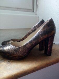 Clarks Heels Size 5.5 D  Bronze Snakeskin Leather narrative