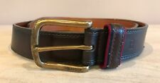 Men's Brown Genuine Leather Tommy Hilfiger Belt Size 40 Brass Buckle