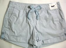 New York & Company Women's Shorts Size 8 Light Blue Striped Low Rise Cotton NWT