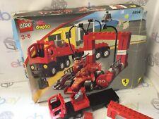LEGO DUPLO 4694 FERRARI F1 RACING TEAM CAR PIT STOP & TRUCK 2 MINIFIGURES
