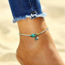 Turquoise Chain Anklet Bracelet Jewelry Boho Shell Starfish Silver Pearl Beads