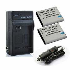 2x Battery+ Charger Kit for Olympus Stylus Tough TG-850 iHS,TG-860,TG-870 Camera