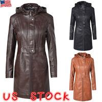 Women Leather Trench Jacket Hooded Coat Lady Hoodies Long Zipper Overcoat Winter