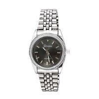 New Silver Black Watch Geneva Fashion Luxury Gift Mens Metal Band