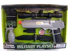 "NATO ® 8"" Toy Pistol gun Scope Grenade Kinife Radio sounds Battery operated USA"