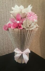 Handmade folded book vase with origami flowers
