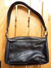 PERLINA Womens Black Leather Metal Rings Silver Logo Shoulder Hand Bag Purse