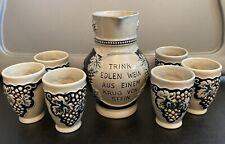 Great antique German wine Stein set.Trink edlen wein aus einem krug von stein