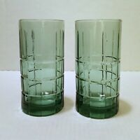 "Anchor Hocking Tartan Plaid Green 6"" tall 16 oz Glasses / Tumblers Set of 2"