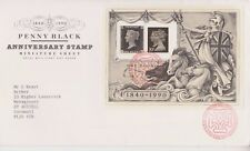 GB ROYAL MAIL FDC 1990 PENNY BLACK STAMP ANNIVERSARY SHEET BUREAU PMK