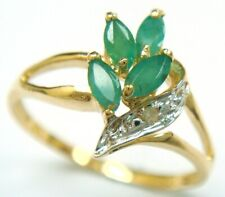 SYJEWELLERY 9CT YELLOW GOLD MARQUISE NATURAL EMERALD & DIAMOND RING   R1045