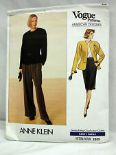 VOGUE AMERICAN DESIGNE SEWING PATTERN # 2355 ANNE KLEIN SIZE 12-14-16 - Uncut