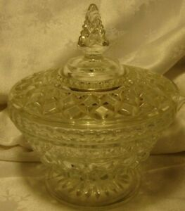 Vintage Anchor Hocking Wexford Pedestal Candy Dish Clear Glass Bowl w/ Lid   L21
