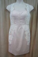 Betsy & Adam Champagne Pink Lace-trim Sweetheart 12 Sheath Dress