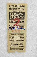 Bill Virdon Signed 1950's Forbes Field Pittsburgh Pirates Ticket Stub