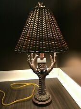 "Hand Carved Artisan Tree House Table Lamp w/ Wicker Shade 21"" Tall"