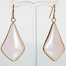 Gold Semi-Precious Pink Rose Quartz Stone Earrings