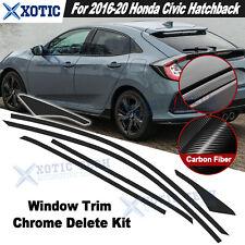 Fit 2016-2021 Civic Hatchback Window Trim Chrome Delete Blackout KK Carbon Fiber
