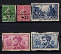 D129246/ FRANCE / SEMI MODERN LOT 1929 - 1935 MINT MH – CV 260 $