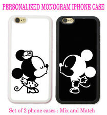 Personalized Black White Mouse Love Couple Kissing 2 Cases For iPhone X 8 7 6 SE