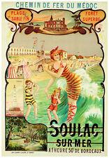 VINTAGE ART PRINT - SOULAC SUR MER - Eugène Boudon French Beach Poster 27.5x39.5