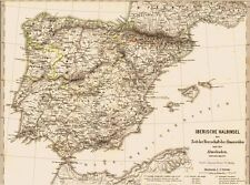 Genuine 146 years old map Spain Latakia Signed 1871
