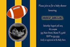 30 American Football Blue Yellow Photo Invitation Card Boy Baby Shower A1