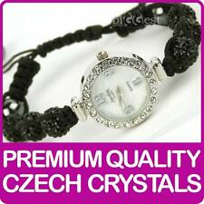 Quality Shamballa WATCH Bracelet Real Czech Crystals Shambala Disco Balls BLACK