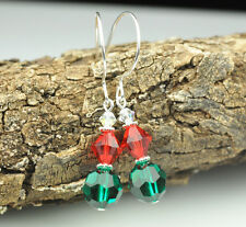 Holiday Christmas Sparkle Earrings W Swarovski Elements Sterling Silver Filled