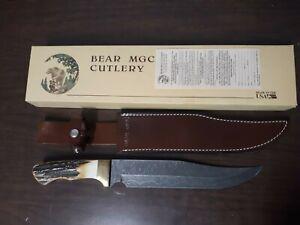 """Bear MGC Cutlery 502D Damascus Bowie Knife 14-1/4"""" Long NOS"""
