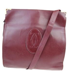 Auth Cartier Must Leather Shoulder Bag Bordeaux 07GC433
