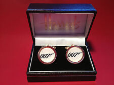 JAMES BOND  007 HIGH QUALITY GOLD PLATED CUFF LINKS IN HARRODS BOX