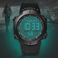 Fashion Waterproof Men's Date Alarm Stopwatch LCD Digital Boys Sport Wrist Watch