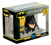Batman Super Smile Set - Toothbrush Holder, Toothbrush & Rinse Cup New