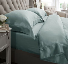 Jasmine Silk 6PCs 100% Charmeuse Silk Duvet Cover Set (Duck Egg) Double