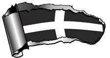 LRG Ripped Open GASH Rip Torn Metal Cornwall Cornish St Pirans Flag Car Sticker