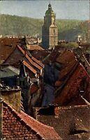 Meissen Sachsen alte Color Ansichtskarte ~1910 Blick vom Schloßberg Häuser Turm
