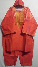 Mens Clothing 3Pcs Dashiki Pant Suit boho African Brocade Fabric Red Free Size