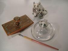 Antique Glass Ink Well. Domed Clear Glass.  Original. C 1900. (778)