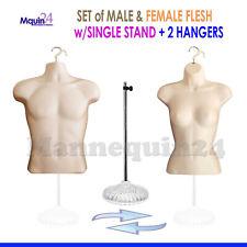 2 Mannequins 1 Stand 2 Hangers Male Female Flesh Form Displays Shirt Amp Dress