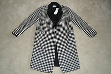 Sandro Houndstooth Black White Wool Long Trench Coat Womens EU 40 UK 12 BNWT New