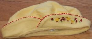 NEW Vintage 2001 GYMBOREE Yellow CHICKS & FLOWERS Embroidered HAT Sz 0-3 mo NWT