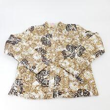 Ruby Road Vtg Women's Sz S Jacket Gold Brown Textured Print Butterscotch Floral
