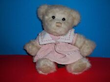 "Russ Berrie MORIA Teddy Bear Plush Wearing Pink Dress 10"" Stuffed Animal GUC"